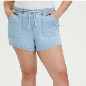 TORRID || Drawstring Shorts- Chambray Blue
